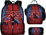Juego de mochila, mochila escolar grande Spider con fiambrera y estuche a juego, mochila para el tiempo libre con diseño de dibujos animados