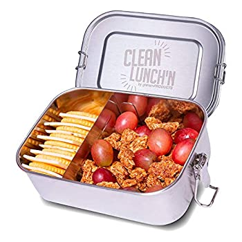 Clean Lunch N Stainless Steel Lunch Box - Adjustable Large Two Sections 25 Oz 6 x 4 x 2.5 inch Meal Prep Metal Bento Box for Kids or Adults Dishwasher Safe and Leak-Proof Lid
