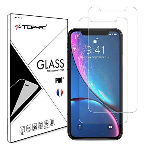 Top4pc [2 Pack] Film Vitre en Verre Trempé pour Apple iPhone 11 / iPhone XR Protection Ecran Ultra Résistant Transparent Dureté 9H Sans Bulles Lot de 2