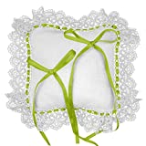 Crociedelizie, Cuscino portafedi cuscinetto fedi in tela aida bianca rifinitura volant in pizzo e passanastro in raso da ricamare a punto croce