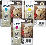 Cartuchos de tinta Epson (paquete de 3tintas DuraBrite: T0612 azul cian, T0613 magenta y T0614 amarillo)