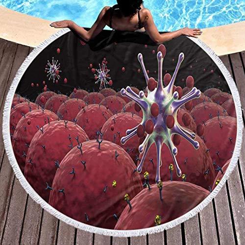 W-wishes Absorbierende Soft Beach Towel Virus Fiel Zellen Rezeptoren Hu Immunsystem Lichtecht 59 Zoll Durchmesser