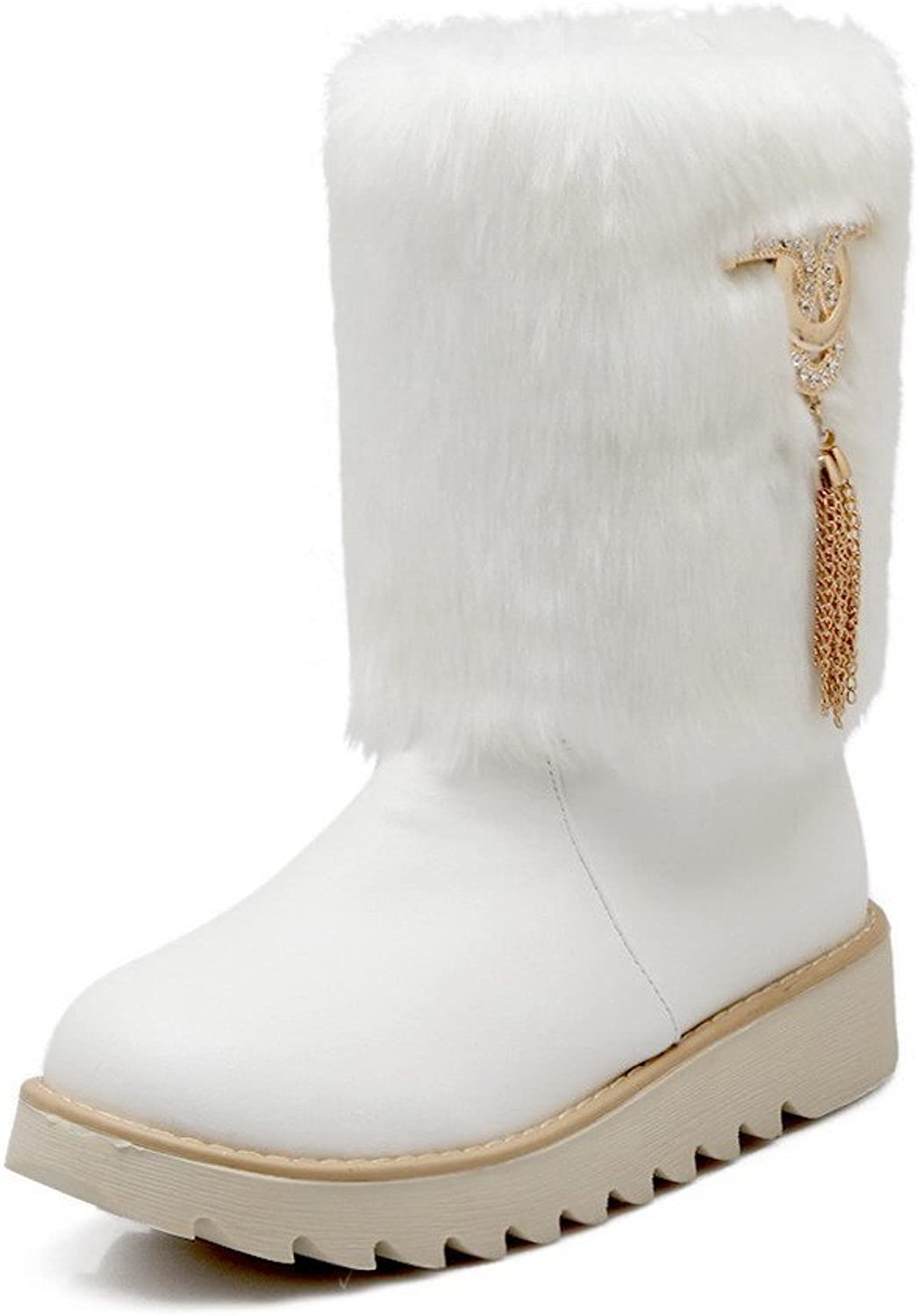 WeenFashion Women's PU Low-Heels Round-Toe Boots with Glass Diamond and Platform