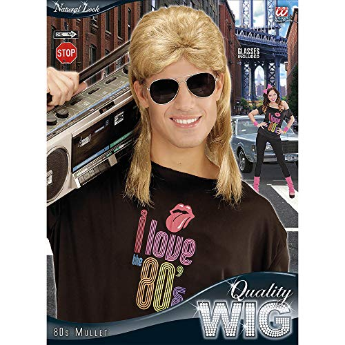 Black WIDMANN 80S Mullet Wig W//Glasses