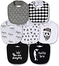 Cotton Terry Waterproof Baby Bibs for Baby Boy with Snaps, Drool,Eating and Teething Bibs