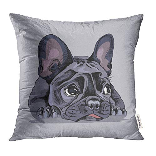 Emvency Throw Pillow Covers Decorative Cases Dog French Bulldog Portrait Face Lying Adorable Animal Black Bored Character 20x20 Inch Cover Cushion Pillowcase Square Case Print