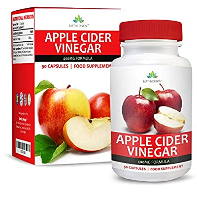 Apple Cider Vinegar 400mg - 90 Capsules (3 Month Supply) by Earths Design from Earths Design