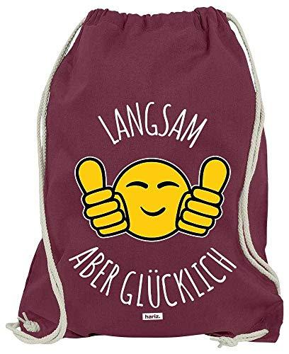 HARIZ Turnbeutel Langsam Aber Glücklich - Smiley Jogging Laufen Inkl. Geschenk Karte Wein Rot One Size