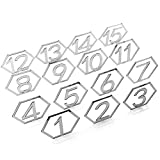 negaor Espejo acrílico plateado, hexagonal, hueco, 1 – 15, mesa de boda, artware, forma de figura, c...