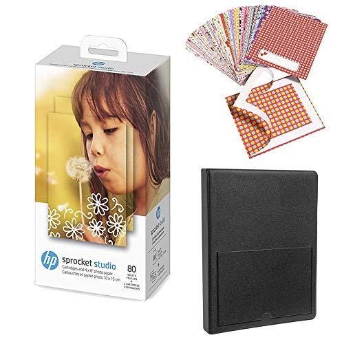 HP Sprocket Studio - Papel fotográfico y cartuchos (80 hojas, 2 cartuchos)