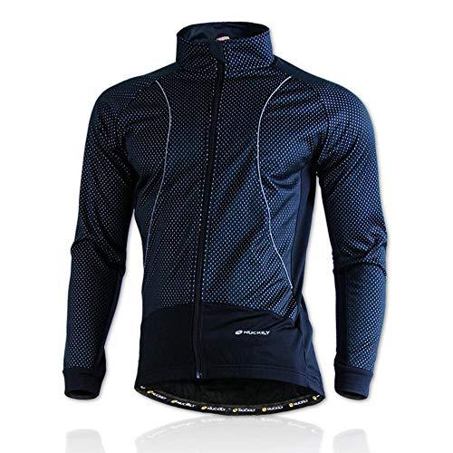 Hellay Veste de Cyclisme pour Homme Manteau Coupe-Vent et Résistant à l'eau Coupe-Vent de Vélo Respirant Thermique d'hiver-Noir_M