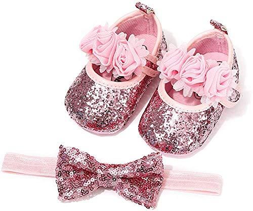 Carolilly Baby Mädchen Schuhe mit Stirnband Taufe Zeremonie Schuhe Anti-Rutsch weiche Sohle Geschenk für Baby Mädchen Gr. 6-12 Monate, rose