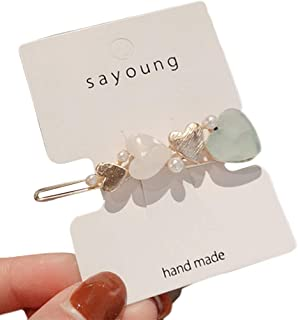 dfsdmlp Korean Sweet Girls Side Bangs Hair Clips Pearl Geometric Barrettes Hair Pins for Women Ladies Hair Accessories -Mint Green