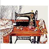 Knncch Peinture par numéros DIY 40x50cm Machine à Coudre Vintage Nature Morte Toile...