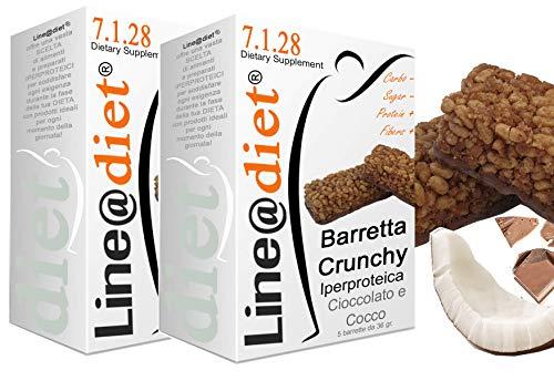 BARRETTE CRUNCHY PROTEICHE Line@diet - ZERO ZUCCHERI con 15 gr di PROTEINE / 4 gr di CARBOIDRATI! Ideali per DIETA PROTEICA (10 Crunchy Cioccolato/Cocco)