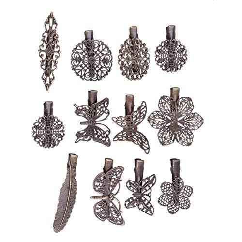 Lurrose 24PCS Vintage Hollow Out Pinzas para el cabello Flor de metal...