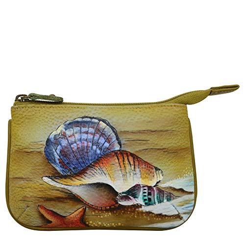 Anuschka Damen-Münzgeldbörse aus Leder, handbemaltes weiches Leder, Kunstwerk, Geschenk mit Meeres-Motto