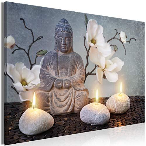 decomonkey Bilder Buddha Grau 90x60 cm 1 Teilig Leinwandbilder Bild auf Leinwand Vlies Wandbild Kunstdruck Wanddeko Wand Wohnzimmer Wanddekoration Deko Blumen Stein Feuer