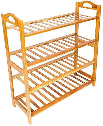 MGCD 4 Tier Bamboo Shoe Rack with Handles Free Standing Closets and Entryway Storage Organizer for Closets, Bedrooms or Doorways