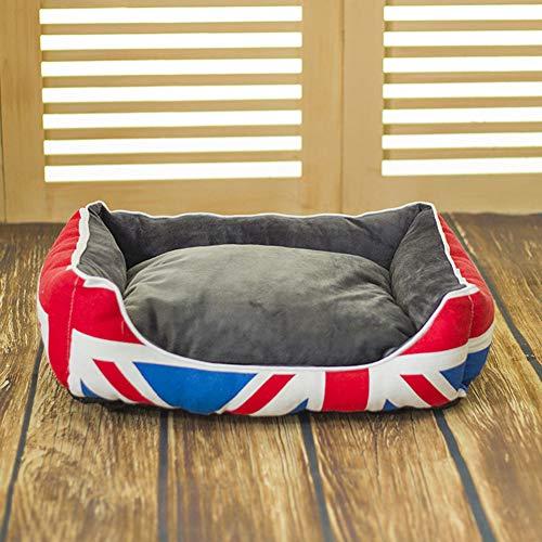 Hondenmand, fashion british college style rechthoekig kattennest verwijderbaar en wasbaar kattenkussen om het fokken van bacteriën en mijten te voorkomen