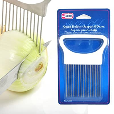 Symak k380 1 New Onion Holder Guide Stainless Steel Prongs Holds Slice Aid Cutting, White by SYMAK