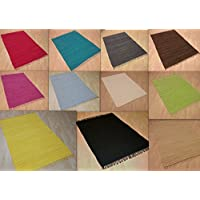 Alfombra de retazos, tejida a mano, de un solo color, de 100% algodón y lavable, algodón, chocolate, ca. 60x110 cm