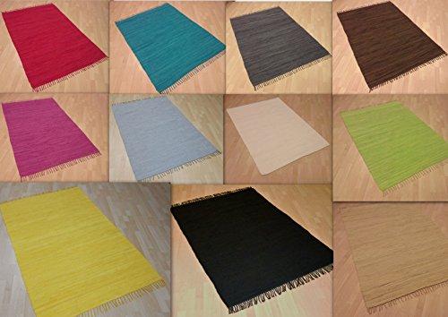 MB Warenhandel24 Handwebteppich Fleckerlteppich einfarbig Uni 100% Baumwolle Handweb Teppich Fleckerl Waschbar NEU (Anthrazit, ca. 60x110 cm)