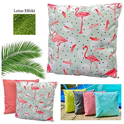 heimtexland ® Outdoorkissen Tropical Dekokissen Lotus Effekt Schmutz- und Wasserabweisend Garten Outdoor Kissen 45x45 Flamingos Typ688