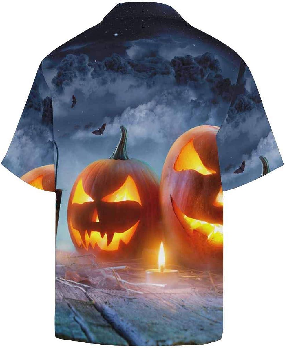 InterestPrint Men's Casual Button Down Short Sleeve Night Star Wolf Hawaiian Shirt (S-5XL)