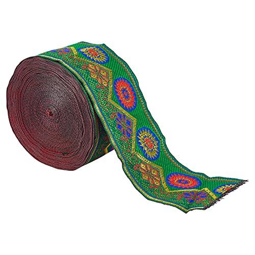 AHANDMAKER Cinta Jacquard de 7 yardas de tela tejida vintage, 5,8 cm de tela bordada floral para manualidades, suministros de ropa, correa de costura