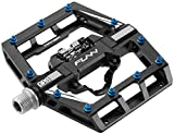 Mamba Mountain Bike Clipless Pedal Set - Single Side Clip Wide Platform MTB Pedals, SPD Compatible, 9/16-inch CrMo Axle (Black)