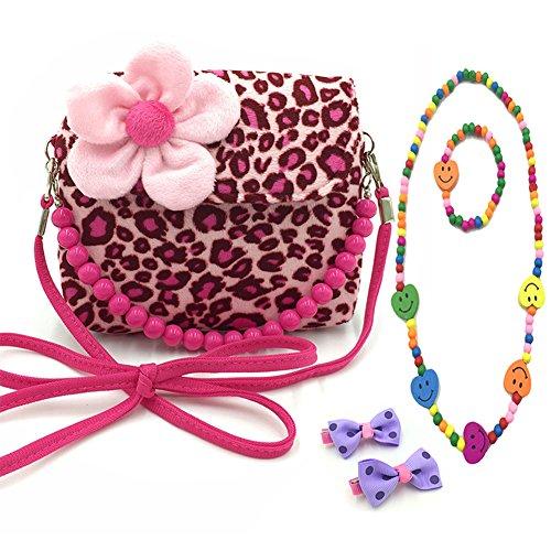 Aligle Little Girl Beauty Set Plush Flower Handbag + 2 Hair Clip + Necklace and Bracelet (Leopard)