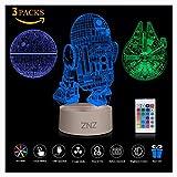 Veilleuse 3D Star Wars, ZNZ Lampe Illusion Étoile de le Mort + R2-D2 + Faucon Millenium,...