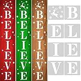 Whaline Believe Stencil Christmas DIY Stencil Templates Reindeer Snowflake Stencil Reusable Plastic Word Art Craft for Painting on Wood Paper Fabric Glass Farmhouse Faith Decor, 8Pcs, 7.1 x 7.9 Inch