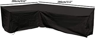 Patio Black L Shape Sofa Cover Universal Sectional Furniture Cover with Locking Rope Waterproof Dustproof 112x112x32 Inch