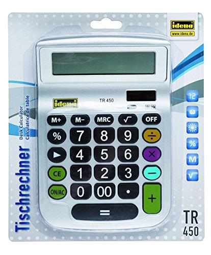 Idena 505292 - tafelrekenmachine TR 450, 12-cijferig display, werkt op zonne-energie, berekening van wortels, procentberekening, geheugenfunctie, zilver