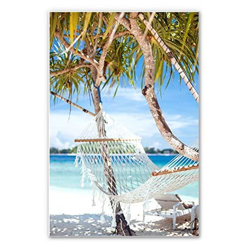 Muurschildering Summerbreeze strand vakantie zomer hangmat palmen paradies exotisch eiland Wall-Art 70x100 cm multicolor