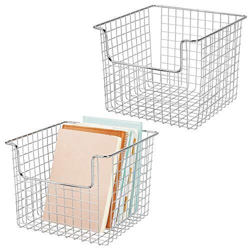 mDesign Set da 2 Contenitore portaoggetti in filo metallico per armadio e scaffali – Pratico organizer per il bagno, la cucina e l'ufficio – Porta oggetti bagno aperto metallo – argento