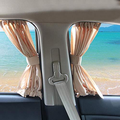 Lamf - Cortina universal para parasol de coche para bloquear los rayos UV y para privacidad, protección solar para bebés con correas de cortina, tela, beige, 38-42cm/14.96' - 16.54'