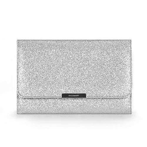 Sac cosmétique Sacs de Voyage Boîte à Bijoux Femmes Porte-Bijoux Collier Oreille Pochette Sac Bijoux Pack23 * 3 * 15cm-Elegant_Silver_23 * 3 * 15cm