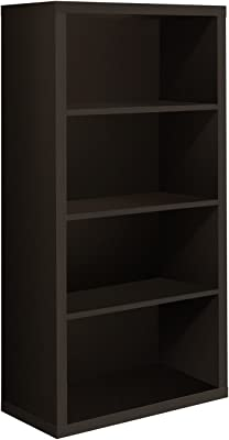 Monarch Specialties High Bookcase With Adjustable Shelves 48 Inch Cappuccino