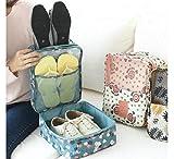 Ytter Bolsa de Viaje, Zapatos portátiles prácticos, Bolsa de Almacenamiento de Doble Capa, Bolsa de Acabado de Zapatos, Flores de Color Burdeos