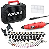 POPULO Rotary Tool Kit with Flex Shaft - 107 PCS Variable Speed Engraving Tool Kit Wood Working Tools and Equipment, for Handmade Crafting Projects and DIY Creations.