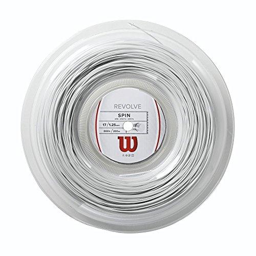 Wilson Revolve Cordaje de tenis, rollo 200 m, unisex, blanco, 1.25 mm