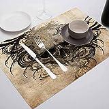 FloraGrantnan Manteles individuales de cocina fácil de limpiar, decoración de tatuajes venganza feroz cráneo trillizos, cena fiesta barbacoa buffet, juego de 6