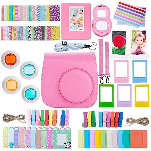 ZWOOS 13 en 1 Accesorios para Fujifilm Instax Mini 8/ Mini 9(Flamingo Pink)