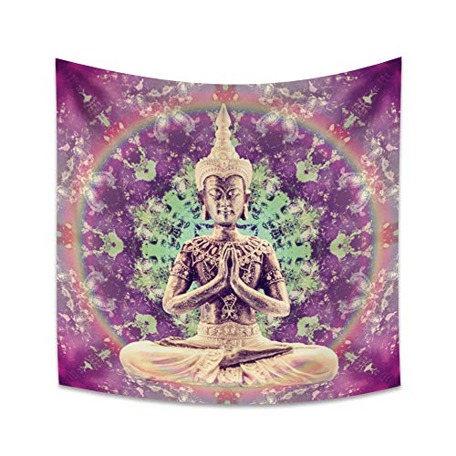 Yongto Buddha Tapestry Wall Hanging Yoga Room Meditation Vintage Golden Buddh Statue Tapestry Buddhism Godliness Color Aperture Peaceful Mood Wall Tapestry for Bedroom Living Room 59.1x59.1 inches