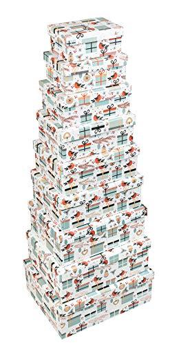 Idena 30172 - Geschenkbox Set Weihnachten, 9 Stück, Weihnachten, Weihnachtsmann, Vögel, Tannenbaum, Geschenkschachtel, Bescherung, Geschenkverpackung, Geschenke, Aufbewahrungsbox