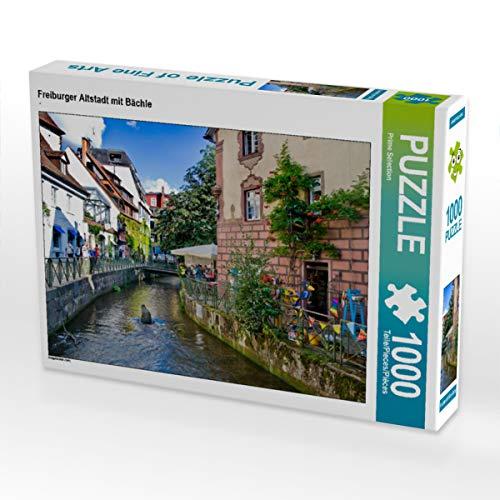 CALVENDO Puzzle Freiburger Altstadt mit Bächle 1000 Teile Lege-Größe 64 x 48 cm Foto-Puzzle Bild von Prime Selection Kalender