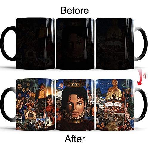 YXYLQ Michael Jackson Becher Keramik Farbwechsel Kaffeetasse Magic Tea Cup Tassen Geschenke-Schwarz